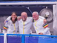 TOKIO -  Michel van den Heuvel (Bel) met Shane McLeod (Bel)   na  de hockey finale mannen, Australie-Belgie (1-1), België wint shoot outs en is Olympisch Kampioen,  in het Oi HockeyStadion,   tijdens de Olympische Spelen van Tokio 2020.   COPYRIGHT KOEN SUYK