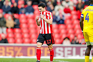 Sunderland midfielder Lewis Morgan (lm), on loan from Celtic, misses  during the EFL Sky Bet League 1 match between Sunderland and AFC Wimbledon at the Stadium Of Light, Sunderland, England on 2 February 2019.