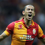Galatasaray's Umut Bulut celebrates his goal during their Turkish Super League soccer match Galatasaray between Kayserispor at the TT Arena at Seyrantepe in Istanbul Turkey on Saturday, 27 October 2012. Photo by TURKPIX
