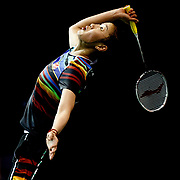 Sun Yu of China in action against Lyanny Alessandra Mainaky of Indonesia in the women's singles 1st round of the BWF Badminton World Championships in Glasgow, Britain, 22 August 2017.