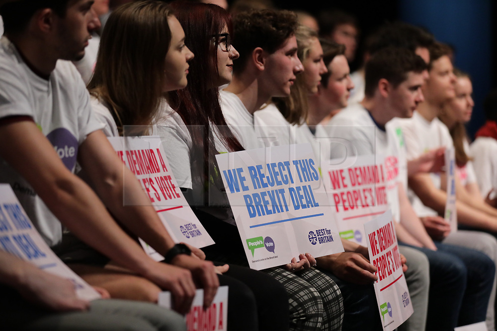 © Licensed to London News Pictures. 09/12/2018. London, UK. Supporters of a second referendum on Brexit at a People's Vote rally at the Excel Centre in London. MPs will vote on Prime Minister Theresa May's proposed Brexit deal in the coming week. Photo credit: Rob Pinney/LNP