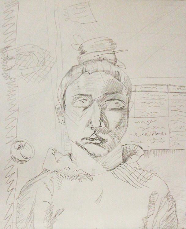 """Self-Portrait – 14""""x17"""", Graphite on paper, 2013"""