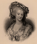 Marie Therese Louise, Princess de Lamballe (1749-92) French aristocrat married to Louis de Bourbon. A friend of Marie Antoinette, she refused to take oath of detestation of monarchy and was murdered by mob as she left courtroom.  Engraving.