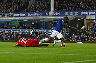Oumar Niasse of Everton scores his teams 1st goal. Premier league match, Everton vs Watford at Goodison Park in Liverpool, Merseyside on Sunday 5th November 2017.<br /> pic by Chris Stading, Andrew Orchard sports photography.