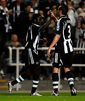 Photo: Jed Wee/Sportsbeat Images.<br /> Newcastle United v Barnsley. Carling Cup. 29/08/2007.<br /> <br /> Newcastle's Obafemi Martins (L) is congratulated by new signing Jose Enrique.
