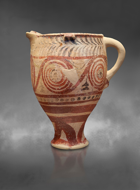 Cycladic spouted cup with floral and net pattern.   Cycladic (1650-1450 BC) , Phylakopi III, Melos. National Archaeological Museum Athens. Cat no 5755.   Gray background.<br /> <br /> <br /> Ceramic shapes and painted style are heavily influenced by Minoan styles during this period. Dark floral and spiral patterns are painted over a lighted backgound with wavy bands. .<br /> <br /> If you prefer to buy from our ALAMY PHOTO LIBRARY  Collection visit : https://www.alamy.com/portfolio/paul-williams-funkystock/cycladic-art-artefacts.html Type into the LOWER SEARCH WITHIN GALLERY box to refine search by adding background colour, place, museum etc<br /> <br /> Visit our CYCLADIC CIVILISATIONS PHOTO COLLECTIONS for more photos to download or buy as wall art prints https://funkystock.photoshelter.com/gallery-collection/Cycladic-civilisation-Ancient-Greek-Artefacts-art-Photos-Pictures-Images/C0000CmevVvnC.XU