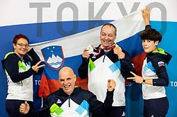TOKYO, JAPAN - SEPTEMBER 02: Shooting team of Slovenia: Polonna Sladic, Franc Pinter Anco, Silver and bronze medalist Francek Gorazd Tirsek - Nan and Sonja Bencina posing at photo shooting on day 9 of the Tokyo 2020 Paralympic Games at Paralympic Village on September 02, 2021 in Tokyo, Japan.  Photo by Vid Ponikvar / Sportida