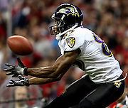 December 13, 2010, Houston, TX, USA; Baltimore Ravens wide receiver Derrick Mason (85) catches a pass for a touchdown against the Houston Texans during the second quarter at Reliant Stadium. Mandatory credit: Thomas Campbell-US Presswire