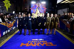 Members of the Royal Air Force attending the Captain Marvel European Premiere held at the Curzon Mayfair, London. Picture date: Wednesday February 27, 2019. Photo credit should read: Ian West/PA Wire