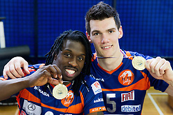 Mory Sidibe of ACH and Alen Sket of ACH celebrate after winning the volleyball match between Calcit Volleyball and ACH Volley in 4th Final Round of Radenska Classic League 2012/13 on April 16, 2013 in Arena Kamnik, Slovenia. ACH Volley defeated Calcit Kamnik in games 3-1 and became Slovenian National Champion 2013.(Photo By Vid Ponikvar / Sportida)