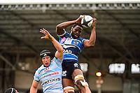 Fulgence OUEDRAOGO / Wenceslas LAURET  - 11.04.2015 - Racing Metro / Montpellier  - 22eme journee de Top 14 <br />Photo : Dave Winter / Icon Sport
