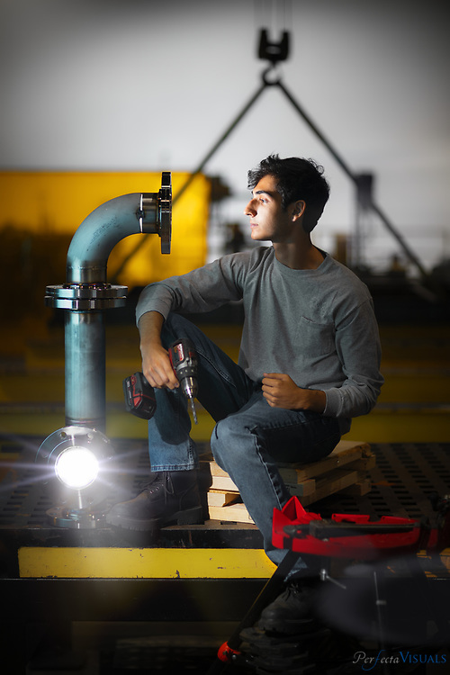 Essa Bishara<br /> <br /> Essa Bishara graduated from Western Guilford High June 7 and became one of eight graduates to step right into a job, thanks to the school's growing logistics program, the only one in a North Carolina high school. Bishara has an apprenticeship with HYFAB, a local  company that manufactures all kinds of water pumps as well as systems to heat and cool all types of buildings. This fall, he will continue working at HYFAB and go to UNCG this fall. <br /> <br /> Photographed, Monday, June 10, 2019, in Greensboro, N.C. JERRY WOLFORD and SCOTT MUTHERSBAUGH / Perfecta Visuals