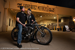 Custom builders Chris Moos and Krystal Hess with a new Motorcycle Missions charity Shovelhead at the Handbuilt Show. Austin, TX. USA. Sunday April 22, 2018. Photography ©2018 Michael Lichter.