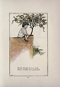Humpty Dumpty sat on a wall, Humpty Dumpty had a great fall from the book Mother Goose : or, The old nursery rhymes by Kate Greenaway, Engraved and Printed by Edmund Evans published in 1881 by George Routledge and Sons London nad New York