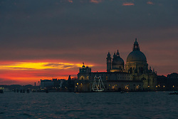 Santa Maria della Salute, commonly known simply as the Salute, at sunset in Venice. From a series of travel photos in Italy. Photo date: Monday, February 11, 2019. Photo credit should read: Richard Gray/EMPICS