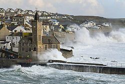 © Licensed to London News Pictures. 27/11/2019. UK. Stormy weather hits the coastline at the fishing port of Porthleven in Cornwall, England.  Photo credit: Mark Hemsworth/LNP