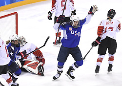 February 22, 2018 - Pyeongchang, South Korea - USA'S HILARY KNIGHT celebrates her first period goal in the Women's Gold Medal Ice Hockey game Thursday, February 22, 2018 at Gangneung Hockey Centre at the Pyeongchang Winter Olympic Games. Photo by Mark Reis, ZUMA Press/The Gazette (Credit Image: © Mark Reis via ZUMA Wire)