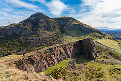 View of Arthur's Seat and Salisbury Crags in Edinburgh, Scotland, UK
