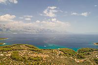 Aerial view of Adriatic sea, mountains and Brac island, Croatia.