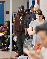 The wait time to vote at the Pittman Park precinct in Atlanta was reported to be three hours. Pizza and snacks were donated for the people waiting in line.Photo by Bob Andres/Atlanta Journal-Constitution/TNS/ABACAPRESS.COM