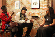 l to r: Delphine Faunwdu-Buford, Akintola Haniff and Noelle Theard at Artist talk of ' Shoot-Out: Lonely Crusade..An Homage to Jamel Shabazz ' held at The George and Leah McKenna African American Museum of Art on December 12, 2008 in New Orleans, Louisana