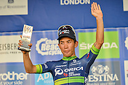 Caleb Ewan (AUS) of Orica BikeExchange receives his award following the Tour of Britain 2016 stage 8 , London, United Kingdom on 11 September 2016. Photo by Mark Davies.