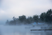 Aiguebelette, FRANCE,   General Views of the Lac d'Aiguebelette, with the early morning mist and low laying cloud.  2015 FISA World Rowing Championships, Venue, Lake Aiguebelette - Savoie. <br /> <br /> Sunday  06/09/2015  [Mandatory Credit. Peter SPURRIER/Intersport Images]. with the early morning mist and low laying cloud.  2015 FISA World Rowing Championships, Venue, Lake Aiguebelette - Savoie. <br /> <br /> Sunday  06/09/2015  [Mandatory Credit. Peter SPURRIER/Intersport Images]. © Peter SPURRIER, Atmospheric, Rowing
