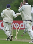 Shenley Middlesex Sri Lanka Tour Match<br /> Middlesex vs Sri Lanka <br /> Photo Peter Spurrier<br /> 11/05/2002<br /> Sport - Cricket - Middlesex vs Sri Lanka -Shenley:<br /> de Silva races back to he crease as a throw from Middlex's Ben Hutton strikes the stumps. [Mandatory Credit:Peter SPURRIER;Intersport Images]