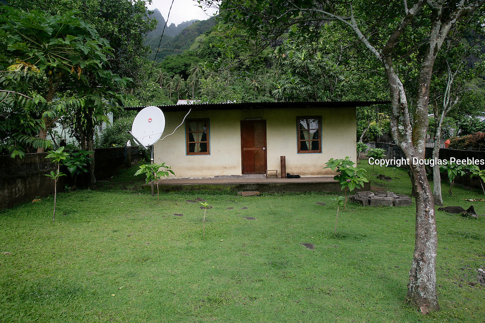 Satellite dish, Hanavave, Island of Fatu Hiva, Marquesas Islands, French Polynesia<br />