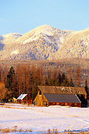 Wooden barn in winter in Whitefish,Montana, USA