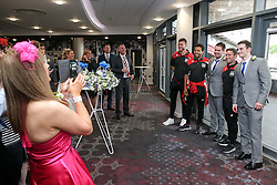 Richard O'Donnell, Korey Smith and Manager Lee Johnson of Bristol City pose with guests of the newly married Mr and Mrs Kearney after they held their reception at Ashton Gate during the game - Rogan Thomson/JMP - 30/07/2016 - FOOTBALL - Ashton Gate Stadium - Bristol, England - Bristol City v Portsmouth - Pre-Season Friendly.