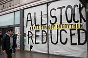 All reduced stock in a closed down shop in Camden Town on 14th January 2020 in London, England, United Kingdom. With much economic uncertainty in the UK following Brexit and with more competition from online retailers, the high street is facing difficult times.