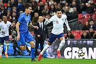 England Midfielder Jesse Lingard (11) and Italy Midfielder Lorenzo Pellegrini (16) in action during the Friendly match between England and Italy at Wembley Stadium, London, England on 27 March 2018. Picture by Stephen Wright.