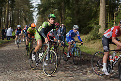 Joëlle Numainville bounces across the cobbles at Ronde van Drenthe 2017. A 152 km road race on March 11th 2017, starting and finishing in Hoogeveen, Netherlands. (Photo by Sean Robinson/Velofocus)
