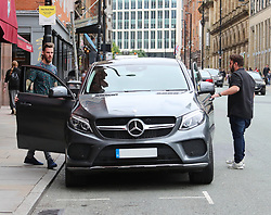 David DeGea is seen leaving Andrer Herrera's birthday lunch at Tapeo and Wine Restaurant in Manchester