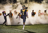 Inderkum High School Tiger's, Nu'umotu Falo (1), comes on the field before the game as the Inderkum High School Tigers host the Rio Linda High School Knights football team, Friday October 31, 2014.<br /> Brian Baer/Special to the Bee