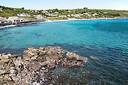 Coastal landscape bay and village houses, Coverack, Lizard Peninsula, Cornwall, England, UK
