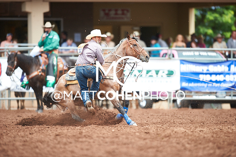 Tie-down roper K.C. Miller of San Luis Obispo, CA competes at the Pikes Peak or Bust Rodeo in Colorado Springs, CO.<br /> <br /> <br /> UNEDITED LOW-RES PREVIEW<br /> <br /> <br /> File shown may be an unedited low resolution version used as a proof only. All prints are 100% guaranteed for quality. Sizes 8x10+ come with a version for personal social media. I am currently not selling downloads for commercial/brand use.