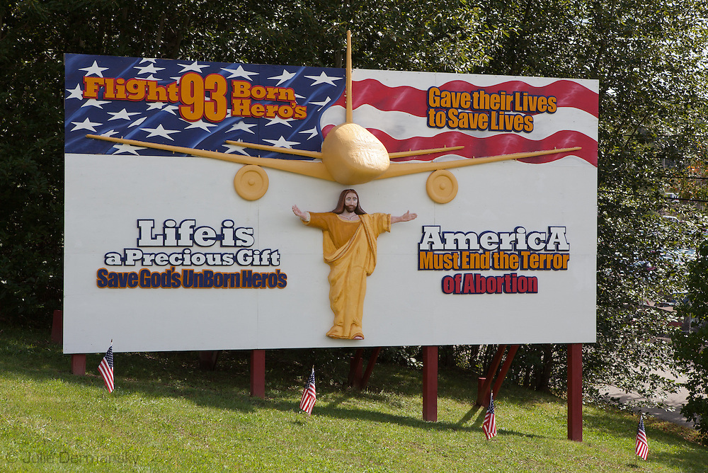 Remembrance of 9/11 on a religous billboard near the Flight 93 Memroial in Shanksville,<br /> Pennsylvania on the 10 th anniversary of 9/11.