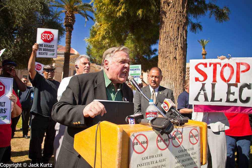 09 FEBRUARY 2012 - PHOENIX, AZ:   ROMAN ULMAN, from the American Federation of State, County and Municipal Employees, speaks out against anti-union legislation in the Arizona legislature during a press conference Thursday. About 150 people, mostly union members but also some unemployed and members of the Occupy movement, were at the State Capitol in Phoenix, AZ, Thursday to announce their opposition to Arizona Senate Bills 1484, 1485, 1486 and 1487 all of which would restrict the way public employee unions operate in Arizona.  PHOTO BY JACK KURTZ
