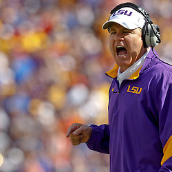 October 8, 2011; Baton Rouge, LA, USA;  LSU Tigers head coach  Les Miles reacts after a fake punt touchdown was called back due to a penalty during the first quarter against the Florida Gators at Tiger Stadium.  Mandatory Credit: Derick E. Hingle-US PRESSWIRE / © Derick E. Hingle 2011