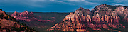 Panorama of sandstone peaks surrounding Sedona, AZ
