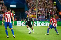 Atletico de Madrid's players Yannick Carrasco and Koke Resurrección and Bayern Munich's player Thiago Alcantara during match of UEFA Champions League at Vicente Calderon Stadium in Madrid. September 28, Spain. 2016. (ALTERPHOTOS/BorjaB.Hojas)