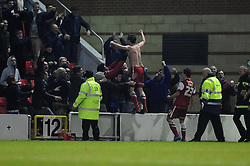 Leyton Orient's David Mooney celebrates after scoring the only goal in the game in the 90th minute - Photo mandatory by-line: Dougie Allward/JMP - Tel: Mobile: 07966 386802 09/01/2013 - SPORT - FOOTBALL - Matchroom Stadium - London -  Leyton Orient v Yeovil Town - Johnstone's Paint Trophy Southern area semi-final.