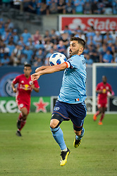 August 22, 2018 - Bronx, New York, United States - New York City forward DAVID VILLA (7) controls the ball with his chest during a regular season match at Yankee Stadium in Bronx, NY.  New York City FC tie the New York Red Bulls 1 to 1 (Credit Image: © Mark Smith via ZUMA Wire)