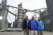 SHOT 10/29/18 9:44:10 AM - Sunrise Cooperative is a leading agricultural and energy cooperative based in Fremont, Ohio with members spanning from the Ohio River to Lake Erie. Sunrise is 100-percent farmer-owned and was formed through the merger of Trupointe Cooperative and Sunrise Cooperative on September 1, 2016. Photographed at the Clyde, Ohio grain elevator was George D. Secor President / CEO and John Lowry<br /> Chairman of the Board of Directors with  CoBank RM Gary Weidenborner. (Photo by Marc Piscotty © 2018)