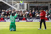 George Dockrell of Ireland takes the catch of Jason Roy of England, bowled by Peter Chase of Ireland during the One Day International match between England and Ireland at the Brightside County Ground, Bristol, United Kingdom on 5 May 2017. Photo by Andrew Lewis.