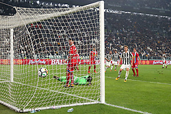 October 25, 2017 - Turin, Italy - Gonzalo Higuain (Juventus FC) scores during  the Serie A football match between Juventus FC and S.P.A.L. 2013 on 25 October 2017 at Allianz Stadium in Turin, Italy. (Credit Image: © Massimiliano Ferraro/NurPhoto via ZUMA Press)