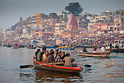Traditional scenes on River Ganges at Varanasi, Benares, Northern India