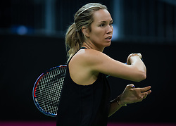 November 10, 2018 - Prague, Czech Republic - Danielle Collins of the United States during practice ahead of the 2018 Fed Cup Final between the Czech Republic and the United States of America (Credit Image: © AFP7 via ZUMA Wire)
